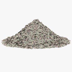 50 dollar bill pile 3D model