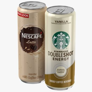 3D model starbucks nescafe coffee cans