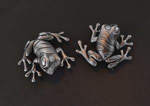 3D jewelry frog brooch model