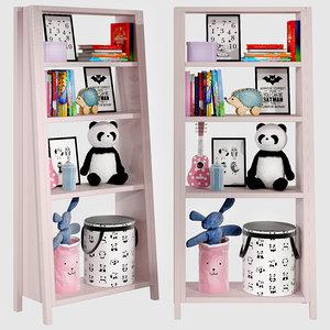 3D kids bookshelf set 04