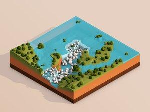 cartoon iguazu 3D