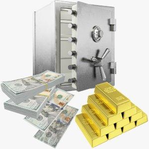 3D dollars safe money gold