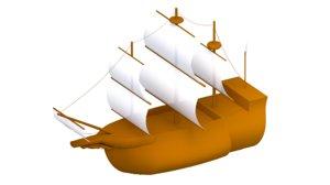 cartoon ship 3D