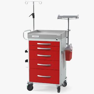 3D detecto medical cart defibrillator model