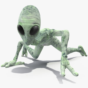 green alien rigged 3D model