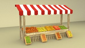 3D greengrocerstall greengrocer green