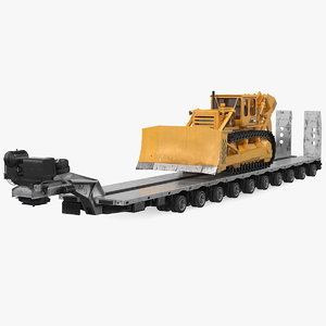 bulldozer heavy transport trailer 3D model