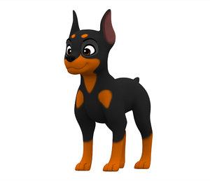 3D doberman puppy model