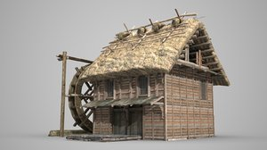 3D ancient waterwheel thatched