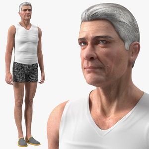 old man underwear standing 3D model