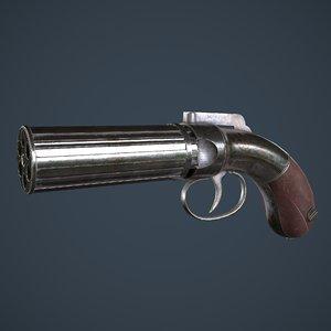 3D turber pepperbox revolver model