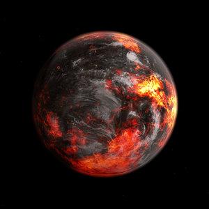 3D fictional alien lava planet model