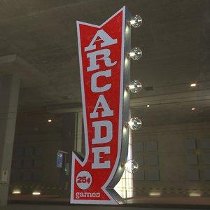 vintage arcade games marquee 3D model