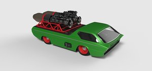 3D model car jet concept