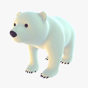 3D stylized polar bear cub