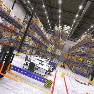 big warehouse interior 01 3D model