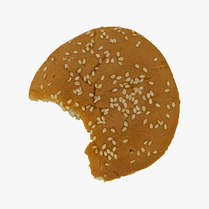 hamburger bun bitten 01 3D model