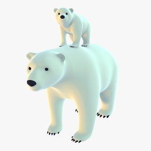 stylized polar bears pack 3D model