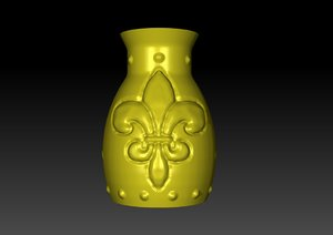 3D accessory vase decorated cats model
