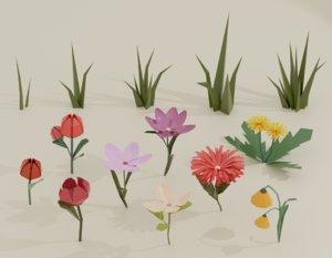 3D model cartoon flowers grass plants