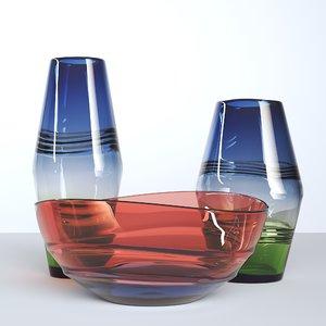 set glass vases 3D model