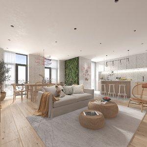3D kitchen living room combo