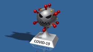 3D novel coronavirus covid-19 cartoon