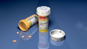 prescription pill bottle editable 3D model