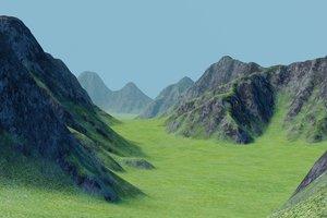 3D landscape mountain valley terrain model