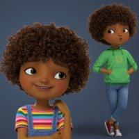 Cartoon Black Girl Rigged