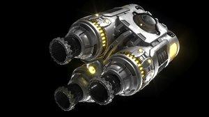 3D model thruster spaceship fusion