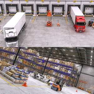 warehouse interior scenes 3D model