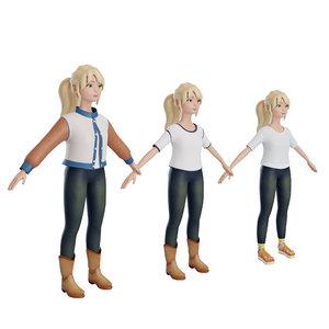 cartoon girl mary 3D model