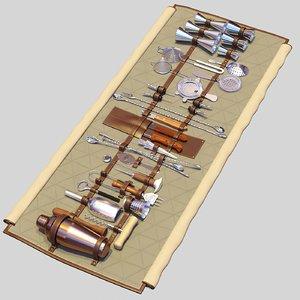 3D bar tools roll-up jigger