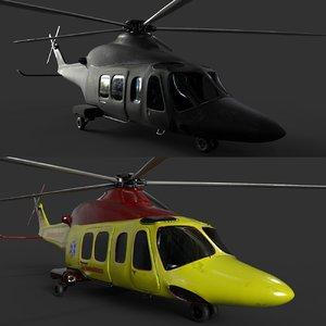 3D agustawestland aw139 helicopter skins model