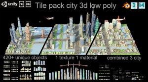 tile pack city buildings 3D model