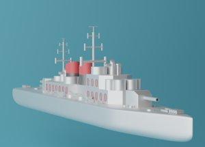 cartoon ship toon 3D model