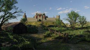 3D model castle scene plants grass