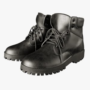 black leather boots 3D model