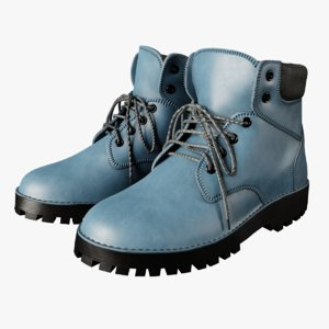 blue leather boots model