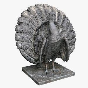 peacock statue bronze 3D model