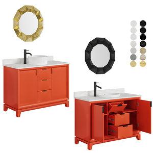 3D cabinet burnt orange sink