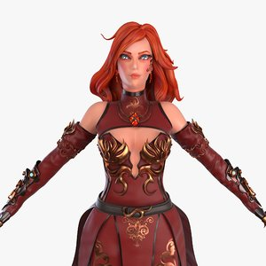 3D model stylized female mage rig