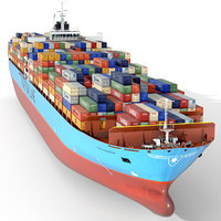 Container ship 300m Low-poly