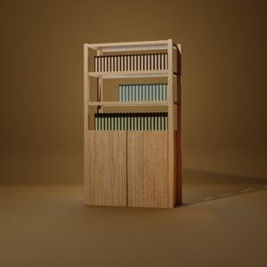 3D model bookshelf books shelf
