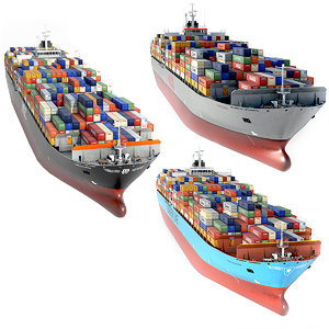3D options cargo container ship