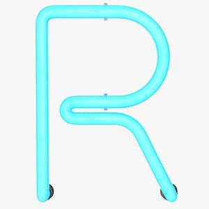 neon letter r alphabet 3D model