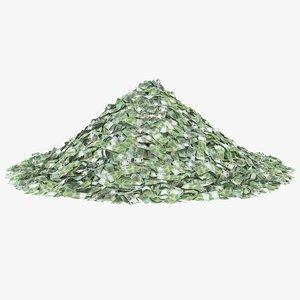 3D 100 euros bill pile model
