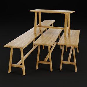 alma bench set 3D model