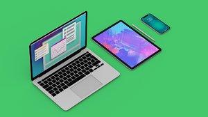 2020 laptop tablet phone 3D model